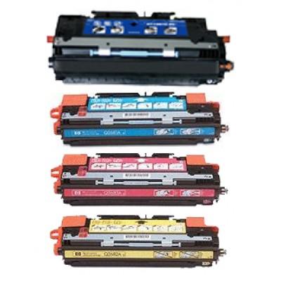 Remanufactured HP laser toner cartridges: 1 HP Q2670A black, 1 HP Q2681A cyan, 1 HP Q2682A yellow and 1 HP Q2683A magenta