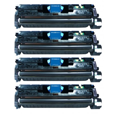 Remanufactured HP laser toner cartridges: 1 HP Q3960A black, 1 HP Q3961A cyan, 1 HP Q3962A yellow and 1 HP Q3963A magenta