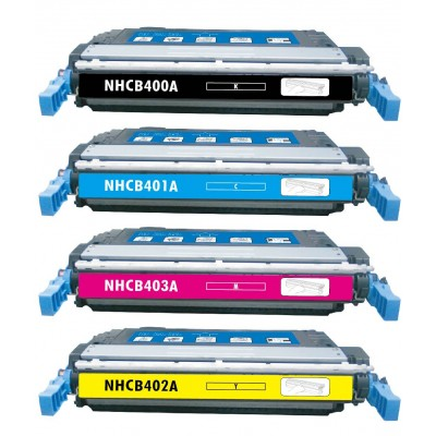 Remanufactured HP laser toner cartridges: 1 HP CB400A black, 1 HP CB401A cyan, 1 HP CB403A magenta and 1 HP CB402A yellow