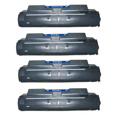 Remanufactured HP laser toner cartridges: 1 HP C4191A black, 1 HP C4192A cyan, 1 HP C4193A magenta and 1 HP C4194 yellow