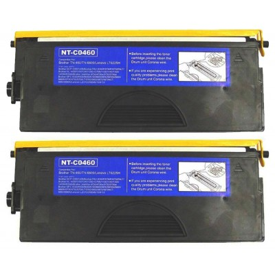 Compatible Brother TN460 high yield black laser toner cartridge - twin pack (2)