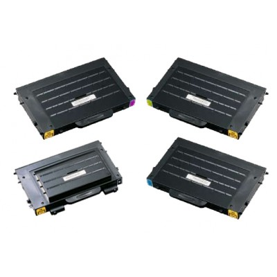 Remanufactured alternative to Samsung laser toner cartridges: 1 CLP-500D7 black , 1 CLP-500D5C cyan, 1 CLP-500D5M magenta and 1 CLP-500D5Y yellow combo set