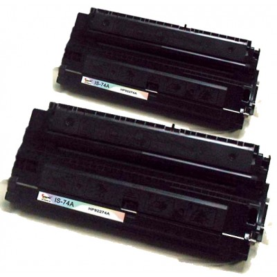 Remanufactured HP 92274A (HP 74A) black laser toner cartridge (2 pieces)
