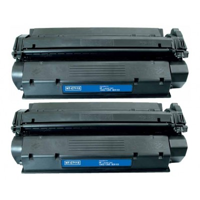 Compatible HP C7115X (HP 15X) high yield black laser toner cartridge (2 pieces)