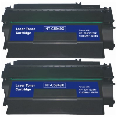 Remanufactured HP Q5949X (HP 49X) high yield black laser toner cartridge (2 pieces)