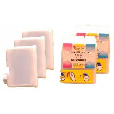 Compatible Epson S020093 black (3 pieces) and S20089 color (2 pieces) inkjet cartridges