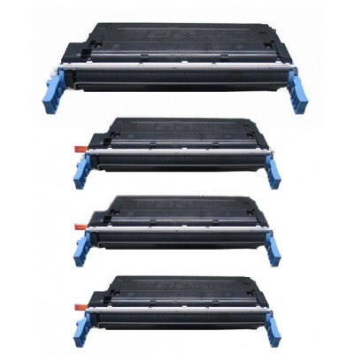 Remanufactured HP laser toner cartridges: 1 HP C9720A black, 1 HP C9721A cyan, 1 HP C9722A yellow and 1 HP C9723A magenta