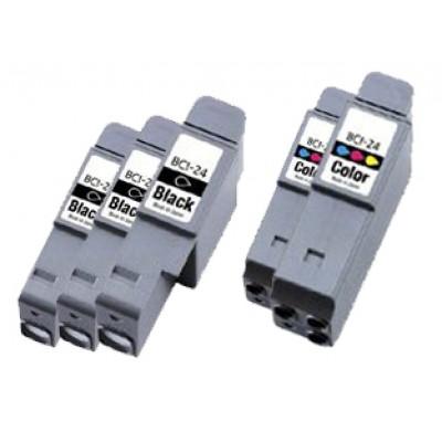 Compatible Canon BCI-24 ink cartridges 5-piece bulk set (3 Canon BCI-24BK black, 2 Canon BCI-24C color)
