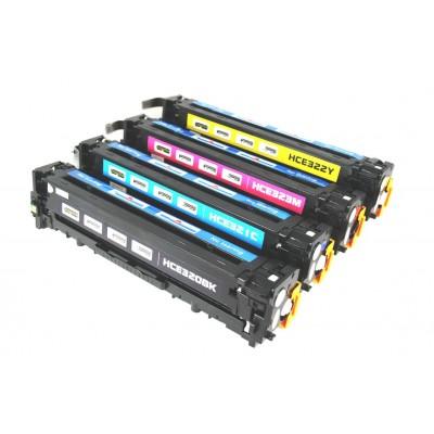 Remanufactured HP laser toner cartridges: 1 HP CE320A black, 1 HP CE321A cyan, 1 HP CE322A yellow and 1 HP CE 323A magenta
