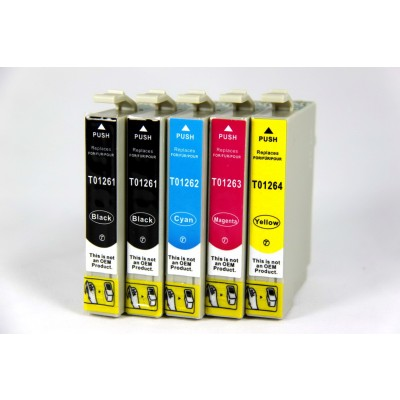 Remanufactured Epson inkjet cartridges (2 T126120 black, 1 T126220 cyan, 1 T126320 magenta and 1 T126420 yellow)