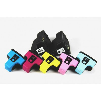 Remanufactured HP #02 high yield ink cartridges value set (2 black, 1 cyan, 1 magenta, 1 yellow, 1 light cyan and 1 light magenta)