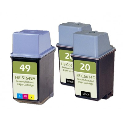 Remanufactured HP ink cartridges - C6614A (No. 20) black ink cartridge (2 pieces) and 51649 (No. 49) color ink cartridge (1 piece)