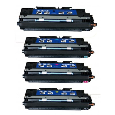 Remanufactured HP laser toner cartridges: 1 HP Q2670A black, 1 HP Q2671A cyan, 1 HP Q2672A yellow and 1 HP Q2673A magenta