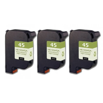 Remanufactured HP 51645A (No. 45) black ink cartridge (3 pieces)