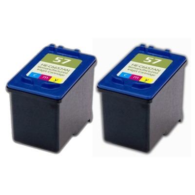 Remanufactured HP C6657 (No. 57) color ink cartridge (2 pieces)