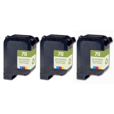 Remanufactured HP C6578D (No. 78) color ink cartridge (3 pieces)