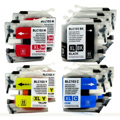 Compatible Brother LC103BK, LC103C, LC103M, LC103Y extra high yield ink cartridges (3 black, 2 cyan, 2 magenta, 2 yellow) value pack