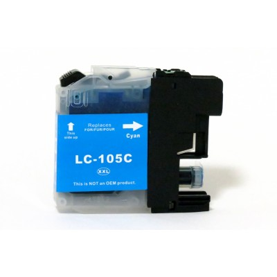 Compatible Brother LC105C extra high yield cyan ink cartridge