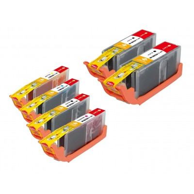 Compatible Canon PGI-250XL and CLI-251XL ink cartridges 6-piece bulk set (2 PGI-250XLBK, 1 CLI-251XLBK, 1 CLI-251XLC, 1 CLI-251XLM and 1 CLI-251XLY)