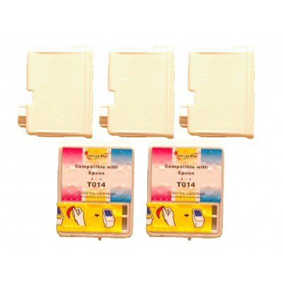 Remanufactured Epson T013201 black (3 pieces) and T014201 color (2 pieces) inkjet cartridges