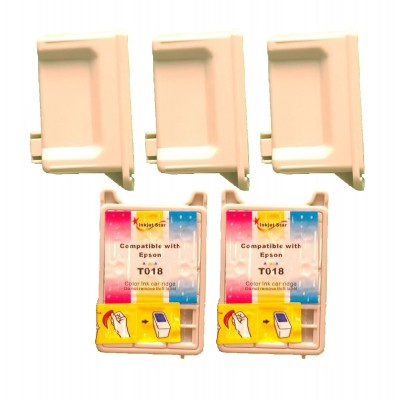 Remanufactured Epson T017201 black (3 pieces) and T018201 color (2 pieces) inkjet cartridges