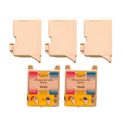 Remanufactured Epson T019201 black (3 pieces) and T020201 color (2 pieces) inkjet cartridges