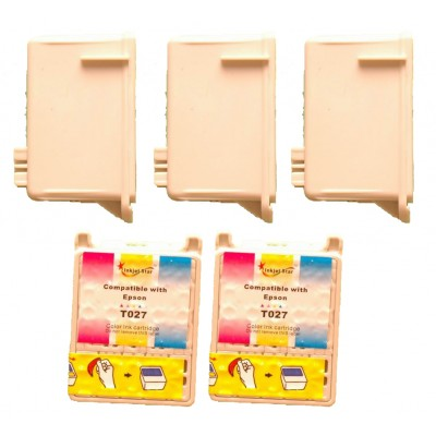 Remanufactured Epson T026201 black (3 pieces) and T027201 color (2 pieces) inkjet cartridges