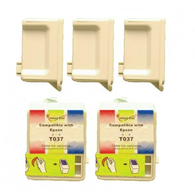 Remanufactured Epson T036120 black (3 pieces) and T037020 color (2 pieces) inkjet cartridges