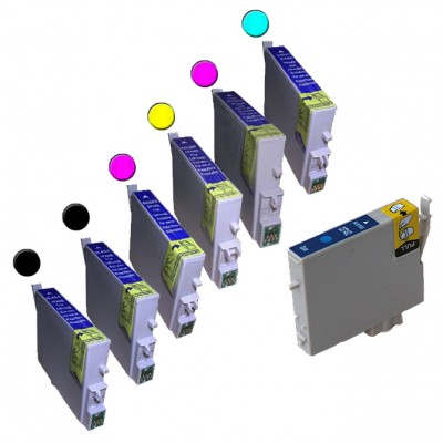 Remanufactured Epson inkjet cartridges (2 T048120 black,1 T048220 cyan, 1 T048320 magenta,  1 T048420 yellow, 1 T048520 light cyan and 1 T048620 light magenta)