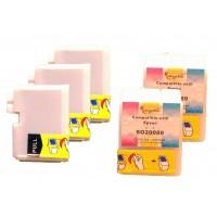 Compatible Epson S020108 black (3 pieces) and S020089 color (2 pieces) inkjet cartridges
