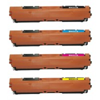 Compatible HP laser toner cartridges: 1 HP CE310A black, 1 HP CE311A cyan, 1 HP CE312A yellow and 1 HP CE 313A magenta