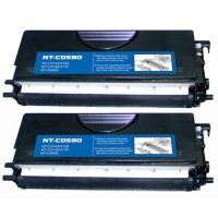 Compatible Brother TN580 high yield black laser toner cartridge - twin pack (2)