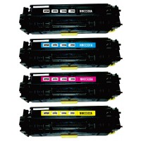 Remanufactured HP laser toner cartridges: 1 HP CC530A black, 1 HP CC531A cyan, 1 HP CC533A magenta and 1 HP CC532A yellow