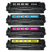 Remanufactured HP laser toner cartridges: 1 HP CB540A black, 1 HP CB541A cyan, 1 HP CB543A magenta and 1 HP CB542A yellow