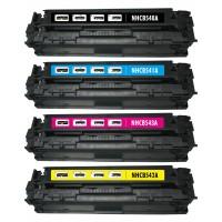 Remanufactured HP laser toner cartridges: 1 HP CB540A black, 1 HP CB541A cyan, 1 HP CB543A magenta and 1 HP CB542A yellow