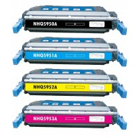 Remanufactured HP laser toner cartridges: 1 HP Q5950A black, 1 HP Q5951A cyan, 1 HP Q5952A yellow and 1 HP Q5953A magenta