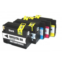 Remanufactured HP 932XL high yield ink cartridges: 2 black, 1 cyan, 1 magenta, 1 yellow