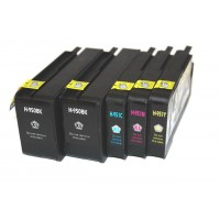 Remanufactured HP 950XL high yield ink cartridges: 2 black, 1 cyan, 1 magenta, 1 yellow