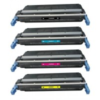 Remanufactured HP laser toner cartridges: 1 HP C9730A black, 1 HP C9731 cyan, 1 HP C9732A yellow and 1 HP C9733A magenta