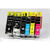 Compatible Canon PGI-7 and PGI-9 ink cartridges 6-piece bulk set (2 PGI-7BK black, 1 PGI-9PBK photo black, 1 PGI-9C cyan, 1 PGI-9M magenta, 1 PGI-9Y yellow)