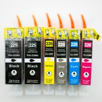 Compatible Canon PGI225 and CLI226 ink cartridges 7-piece bulk set (2 PGI-225BK, 1 CLI-226BK, 1 CLI-226GY, 1 CLI-226C, 1 CLI-226M, 1 CLI-226Y)