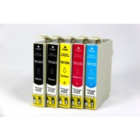 Remanufactured Epson inkjet cartridges (2 T125120 black, 1 T125220 cyan, 1 T125320 magenta and 1 T125420 yellow)