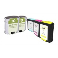 Remanufactured HP ink cartridges - C4844A (No. 10) high capacity black (2 pieces), C4804A (No. 12) cyan (1 piece), C4805A (No. 12) magenta (1 piece), and  C4806A (No. 12) yellow (1 piece)