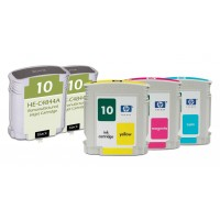 Remanufactured HP ink cartridges - C4844A (No. 10) high capacity black (2 pieces), C4841A (No. 10) cyan (1 piece), C4843A (No. 10) magenta (1 piece), C4842A (No. 10) yellow (1 piece)
