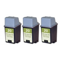 Remanufactured HP C6614 (No. 20) black ink cartridge (3 pieces)