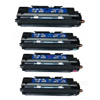 Remanufactured HP laser toner cartridges: 1 HP Q2670A black, 1 HP Q2671A cyan, 1 HP Q2672A yellow and 1 HP Q2673A magenta
