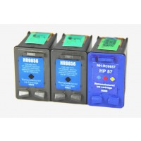 Remanufactured HP C6656 (No. 56) black ink cartridge (2 pieces) and C6657 (No. 57) color ink cartridge (1 piece)