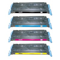 Remanufactured HP laser toner cartridges: 1 HP Q6000A black, 1 HP Q6001A cyan, 1 HP Q6002A yellow and 1 HP Q6003A magenta