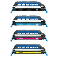 Remanufactured HP laser toner cartridges: 1 HP Q6470A black, 1 HP Q6471A cyan, 1 HP Q6472A yellow and 1 HP Q6473A magenta