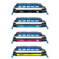 Remanufactured HP laser toner cartridges: 1 HP Q6470A black, 1 HP Q7581A cyan, 1 HP Q7582A yellow and 1 HP Q7583A magenta